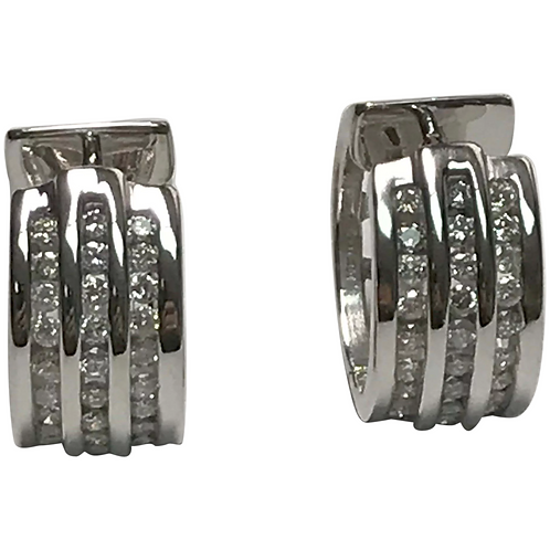 14 k White Gold 1.00 CTW Diamond Huggie Hoops