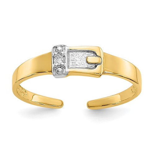 Diamond & 14k Gold Buckle Toe Ring GORGEOUS!