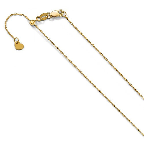 Handcrafted 10K Yellow Gold Adjustable Singapore Chain Necklace Measures 22""