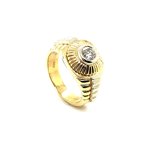 Men's 14K Gold 0.65 Carats IGI Certified Diamond Statement Ring
