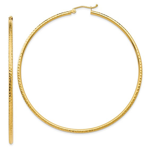 Handcrafted 14k Yellow Gold Large Hoop Earrings Polished Diamond Cut NICE