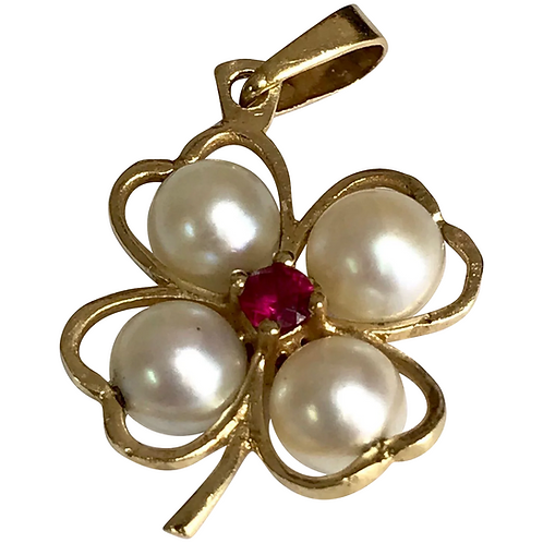 14 K Yellow Gold Cultured Pearl & Ruby Four Leaf LUCKY Pendant