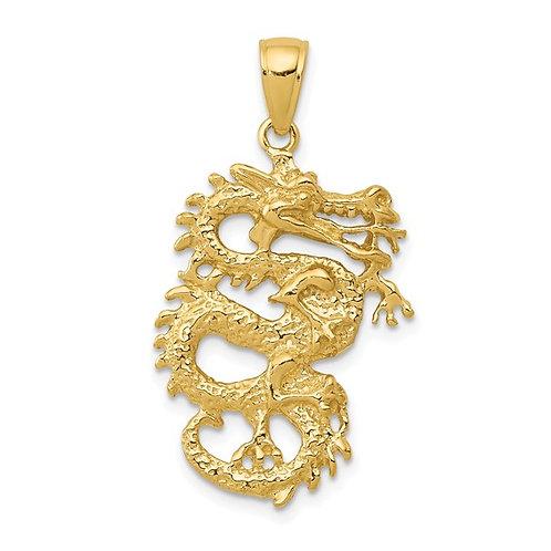 14k Solid Gold Dragon 3-D Pendant Charm Gorgeous Piece!