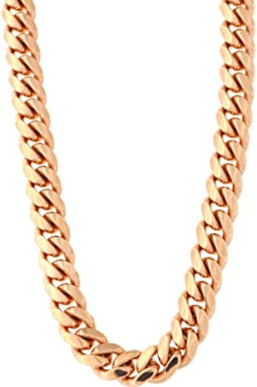 """Thick 13mm Huge Semi Solid Rose 10k Gold Cuban Link Chain Necklace Measures 30"""""""