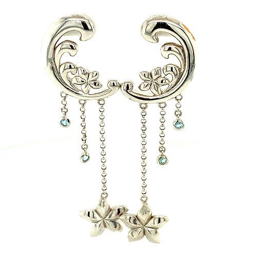 "Half Moon & Stars Handcrafted 14k White Gold Drop Dangle Earrings Measure 2.5"""