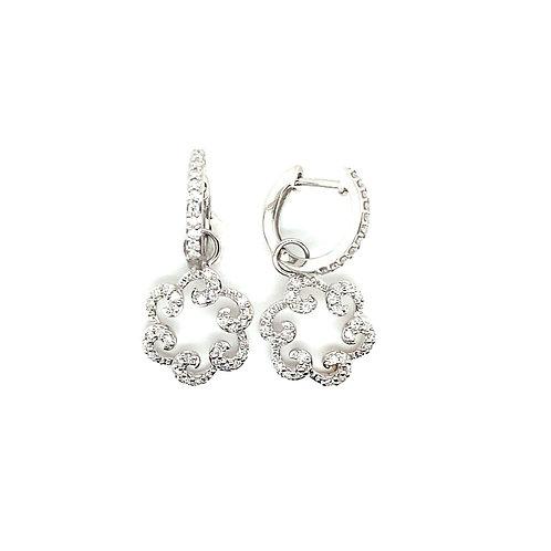 Beautiful 18K White Gold and 5/8 Carats Diamond Earrings