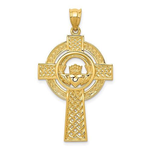 14k Yellow Gold Celtic Claddagh Cross Pendant Charm NICE!