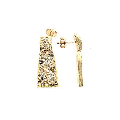 Elegant Women's 14K Gold 1 Carat Diamond Earrings