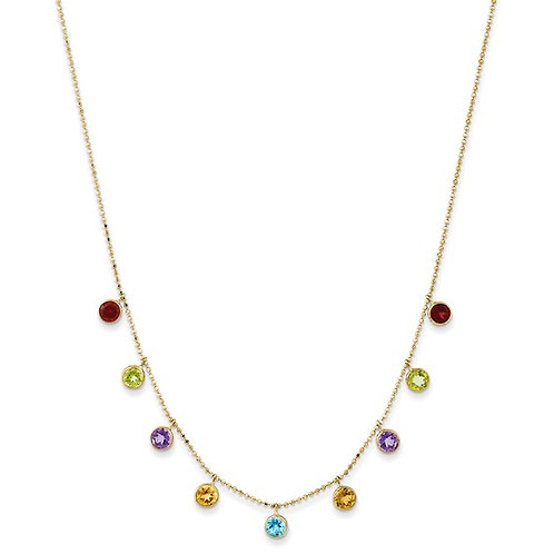"Gorgeous! 14k Gold Multi-Gemstone Necklace 18"" w/2"" ext."