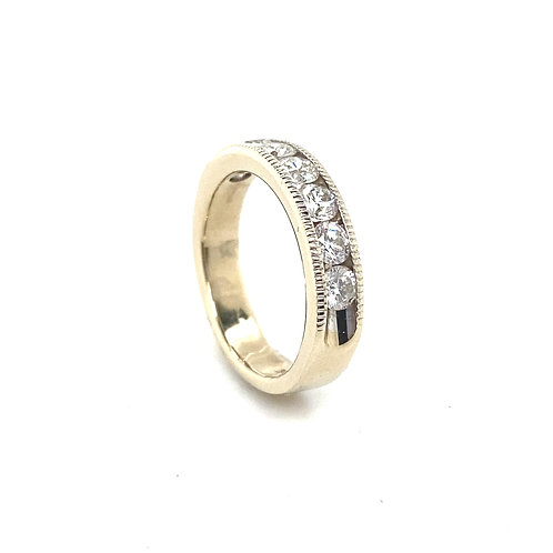 Men's 14K Gold and Diamond Wedding Ring