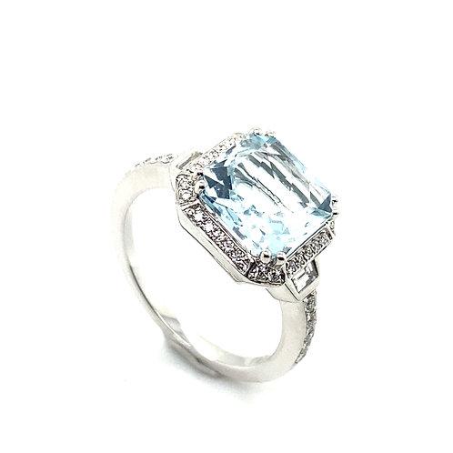 Beautiful Aqua Light Blue Stone & Diamond Ring Set In Handcrafted 14K White Gold