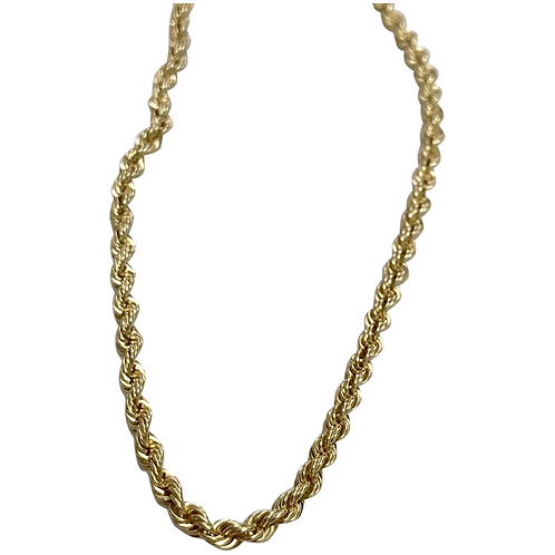 14 k Yellow Gold Solid 3 mm Wide Rope Chain 18""