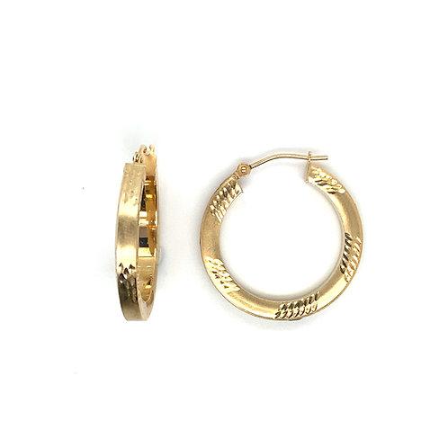 Women's Fancy Hoop 10K Gold Earrings