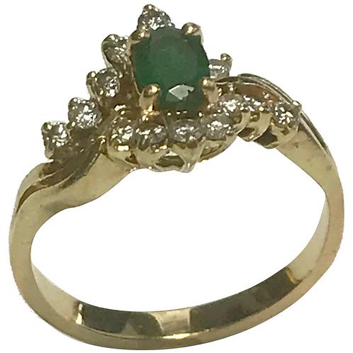 14 k Yellow Gold Emerald & Diamond Ring