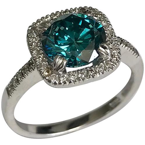 14 K White Gold 2.04 Blue Diamond Engagement Ring ~ IGI Cert