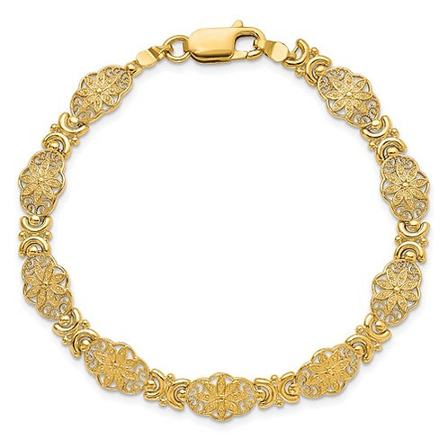 "Art Deco Style 14k Solid Gold Fancy Floral Link Bracelet 7.5"" 9mm 7.11g GORGEOUS"