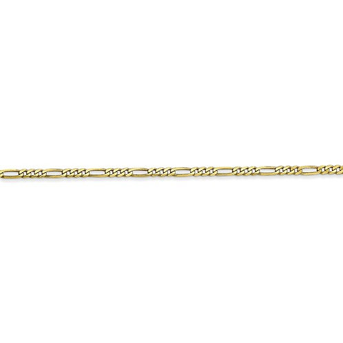 """Quality Handcrafted 10K Yellow Gold Figaro Link Necklace Measures 16"""" 2mm"""