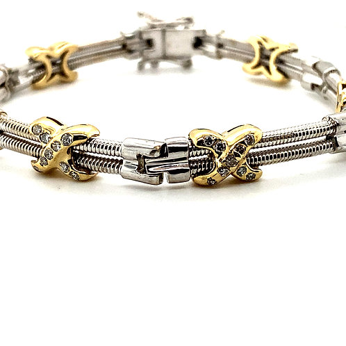 Handcrafted 14k White & Yellow Gold Diamond 0.60ct Fancy Link Bracelet Exquisite