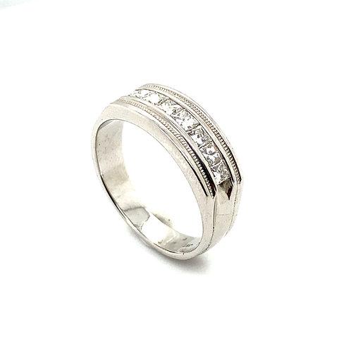 Beautiful Men's Wedding Ring Band IGI Certified Diamond & 14K White Gold