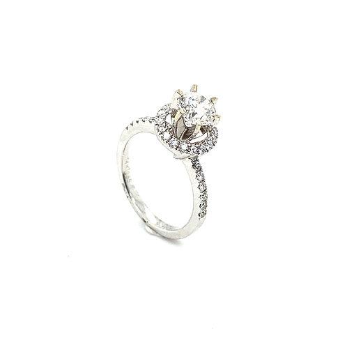 Stunning 14K White Gold IGI Certified 1.42 Carats Diamond Engagement Ring