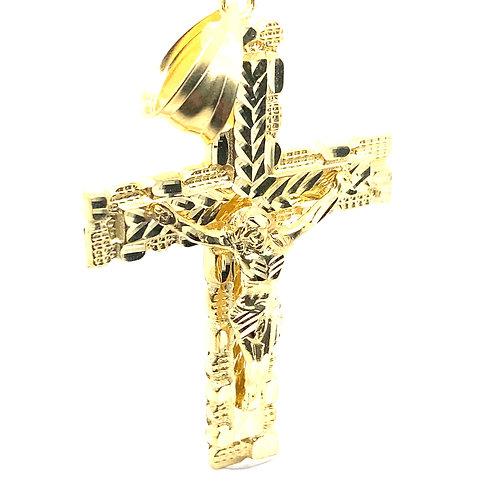 "Beautiful Jesus Christ on the Cross Pendant Very Large 3.5"" Diamond Cut GORG!"