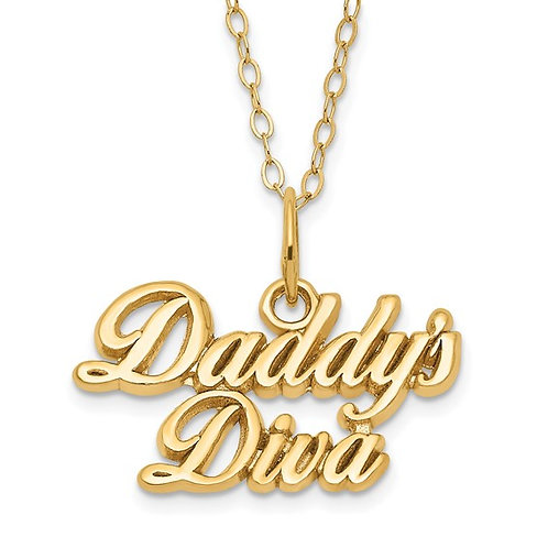 """14k Yellow Gold Daddy's Diva Children's Necklace Measures 15"""" Super CUTE!"""