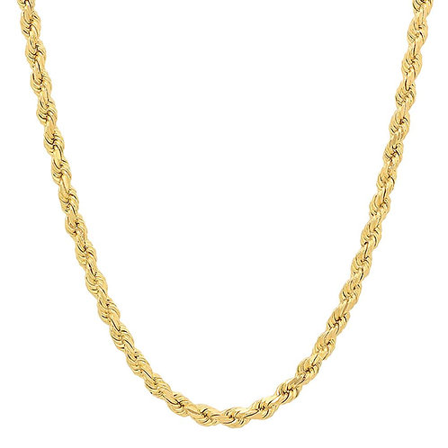 """Solid Rope Chain Necklace Handcrafted 14k Gold Measures 25"""" Thickness is 5mm"""