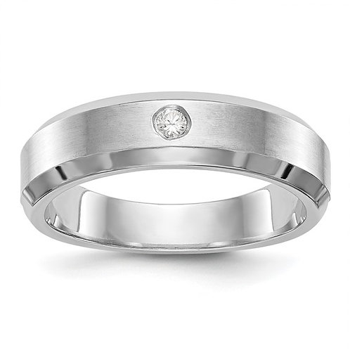 Men's Handcrafted 14K White Gold & Diamond Wedding Band