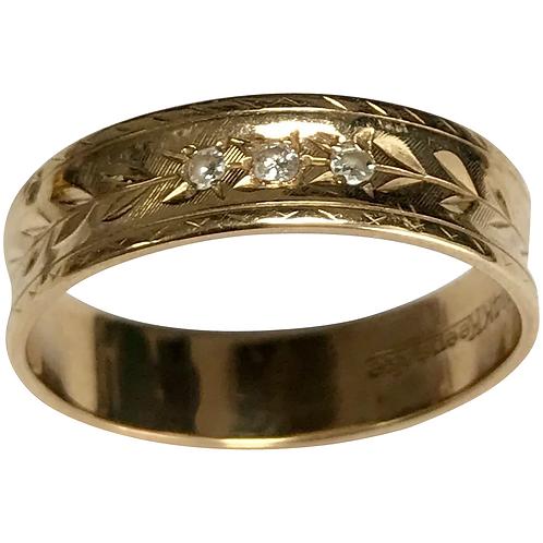 Vintage 14 k Yellow Gold 3 Diamond Engraved Keepsake Wedding Band