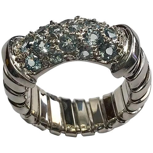 14 K White Gold Blue Topaz Unique Ring