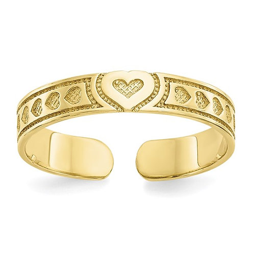 Beautiful 14k Yellow Gold Heart Design Hearts Toe Ring Love Solid 3mm