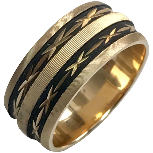 14 K Yellow Gold Etched/Enameled Wedding Band