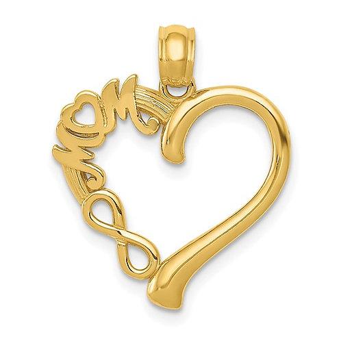 14k Mom in Heart w/ Infinity Symbol Charm Pendant