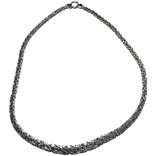 14K White Gold Wide Byzantine Chain ~ 20""