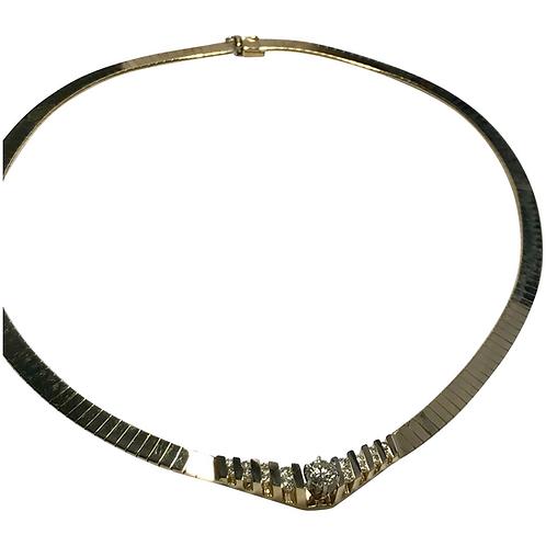 Luxurious 14 k Yellow Gold 1.03 CTW Diamond Choker, IGI Certified Diamonds
