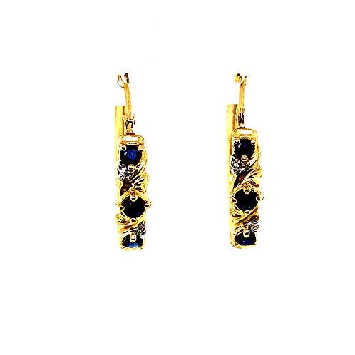 "Beautiful Sapphire & Handcrafted 14k Yellow Gold Hoop Earrings 1"""