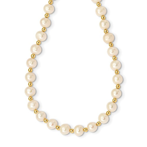 Beautiful 14k 6-7mm White Near Round FW Cultured Pearl Bead Necklace Measures 18