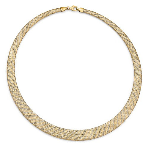 """Ladies Gorgeous 14k Two Tone Gold Mesh Necklace 17 3/4"""" 12mm 5.3g STUNNING PIECE"""