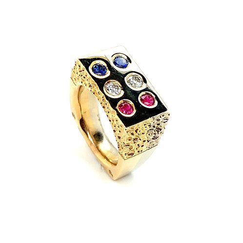 Men's Stunning 14K Two Tone Gold Diamond, Ruby, Sapphire Statement Ring
