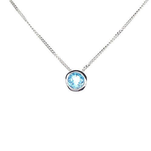 Stunning 14K White Gold Blue Topaz Pendant Necklace