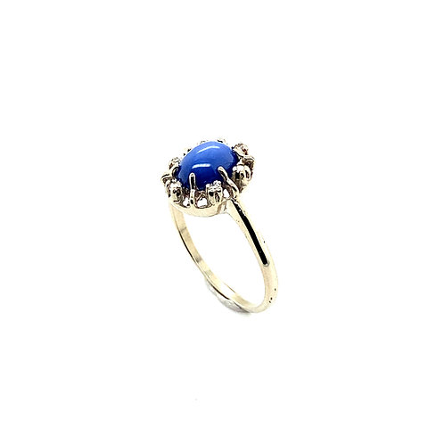 Blue Star Sapphire & Diamond 0.10ct Ring Set in Handcrafted 14k White Gold