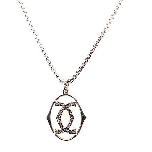 "Beautiful Handcrafted 14k White Gold 18"" Block Style Chain w/Diamond ""C"" Pendant"