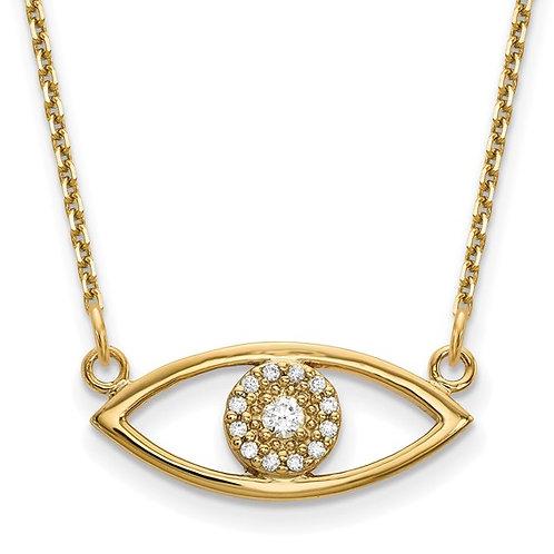 "Handcrafted 14K Yellow Gold Evil Eye Diamond Pendant & Necklace 18"" NICE!"