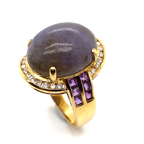 Statement Ring! Large Jade Stone w/Amethyst and Diamonds Set in Handcrafted 18k