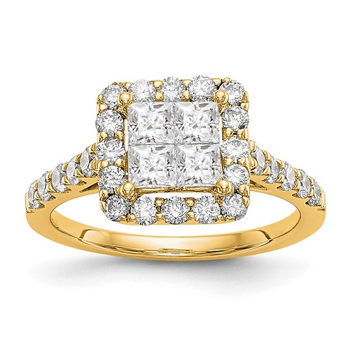 Beautiful BLING! Handcrafted 14k Yellow Gold & Diamond Cluster 1.50ct