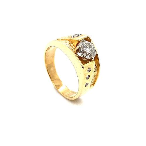 Stunning Men's 14K Solid Gold 1.34Carats IGI Certified Diamond Ring