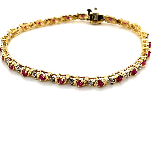 Absolutely Gorgeous Ruby & Diamond Tennis Bracelet Set in Handcrafted 14k Gold