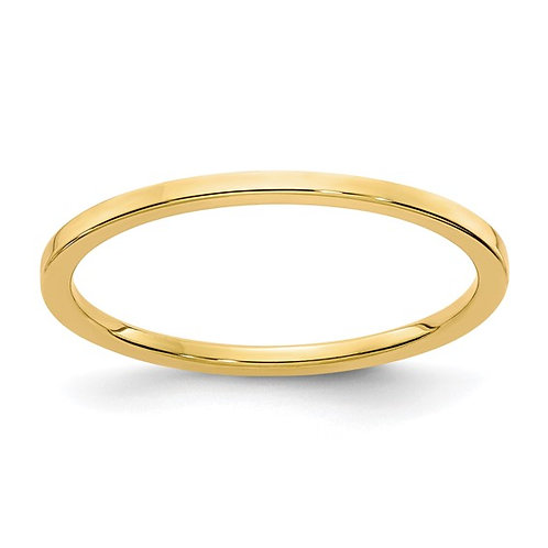 Women's Handcrafted 14k Yellow Gold Flat Stackable Wedding Band 1.2mm