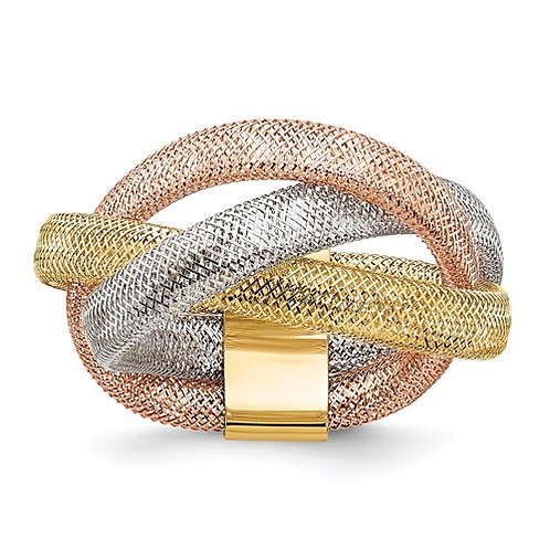 GORGEOUS! 14k Tri Color Gold Flexible Cocktail Modern Upscale Design Ring