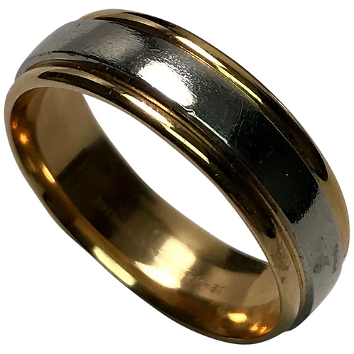 18K Yellow Gold /Platinum 6.5 mm Wedding band